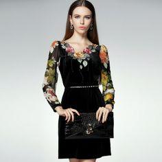 Long Sleeve Embroidered Flowers V Neck Waisted Elegant Dresses
