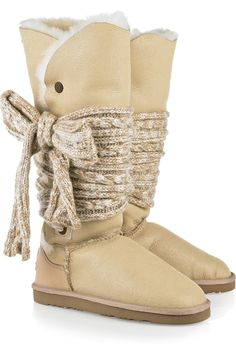 Mars tie-embellished sheepskin boots from Australia Luxe $380