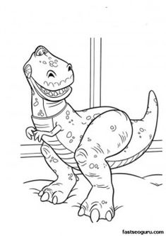 Printable coloring toy story 3 Tyrannosaurus Rex - Printable Coloring Pages For Kids
