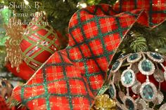 Christmas craft or decorating ribbon. Red and green plaid with glitter and wired edges.  http://shelleybhomeandholiday.com/plaid-wired-christmas-ribbon/