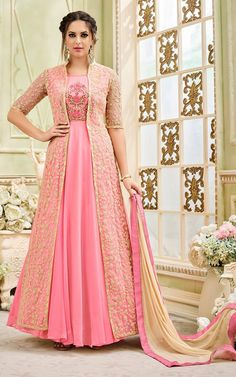 Shop from latest collection of bollywood anarkali suits and anarkali dress designs. Buy net and satin georgette cream and pink jacket style salwar kameez for festival, party and reception online. Gown With Jacket, Jacket Style, Designer Gowns, Indian Designer Wear, Designer Anarkali, Indian Gowns, Indian Outfits, Indian Clothes, Kurta Designs