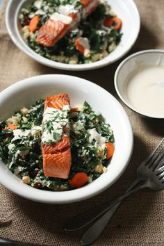 Salmon, kale and quinoa bowls with tahini sauce