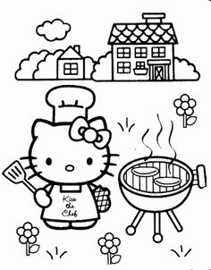 HELLO KITTY COLORING BBQ PAGE