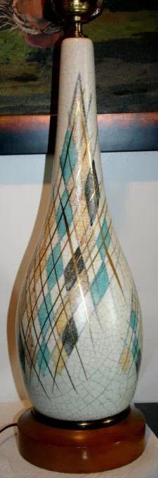 View item: VTG Mid Century Danish Modern Teak Ceramic Pottery Table Lamp Italian Atomic