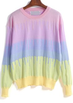 Multicolor Long Sleeve Rainbow Knit Sweater 21.33