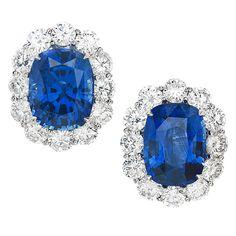 "1stdibs   Ceylon Sapphire & Diamond ""Halo"" White Gold Earrings"