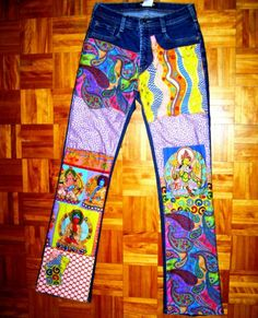 Buddha patchwork jeans by 4getmeknot Wearable ⒶⓇⓉ
