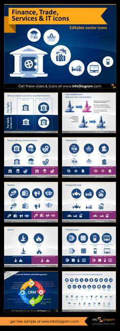 Set of editable icons for PowerPoint. This is much more than presentation template. You can use these editable charts and diagrams to create your own slides following your corporate branding. This theme contains icons from finance and banking, services, travel, retail and distribution, IT and telco. #PowerPoint #template #theme #telco #it #finance #banking #distribution #logistics
