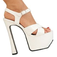 White Chunky High Heels