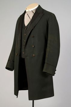 1870s, America - Green wool frock coat and vest