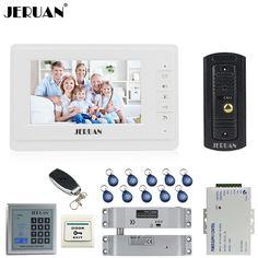 JERUAN Wired 1V1 Doorbell 7`` Video Door phone Intercom System kit 1 Monitor Full Metal IR Pinhole Camera RFID Access Control