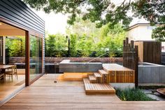 contemporary deck with lap pool in Melbourne