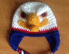 Crochet Eagle Hat, Size Toddler/Preschooler, American Eagle