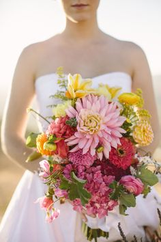 #bright pink, yellow and orange wedding bouquet of dahlias and zinnias ... Wedding ideas for brides & bridesmaids, grooms & groomsmen, parents & planners ... https://itunes.apple.com/us/app/the-gold-wedding-planner/id498112599?ls=1=8 … plus how to organise an entire wedding, without overspending ♥ The Gold Wedding Planner iPhone App ♥