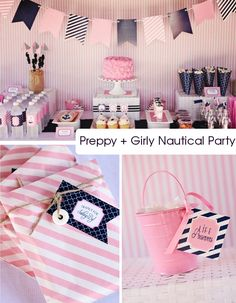 Preppy Girly Nautical Party theme  or   Black & Pink Party Theme    #birthday #party #event #occasion #party idea
