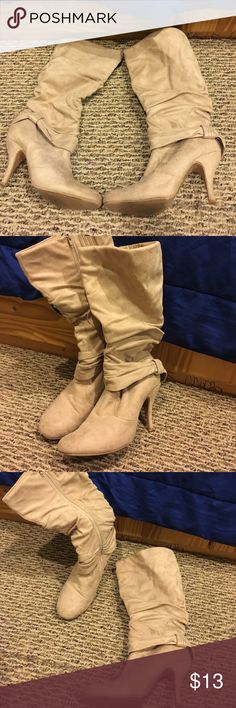 Tan heeled boots. Super cute boots. Worn. Selling for a good price. Still sturdy, just don't want to wear them anymore lol Shoes Heeled Boots