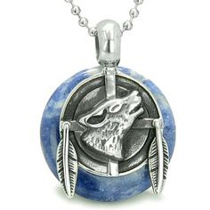 "Amulet Howling Wolf and Feathers Medallion Protection Powers Sodalite Lucky Donut Pendant on 18"" Steel Necklace."