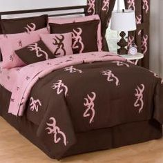 Browning Buckmark Pink Comforter & Bedding Collection  is modern bedding with a rustic twist for the outdoor young woman.