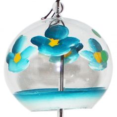 Japanese Handmade Glass Wind Chime with Blue Flower Paintings