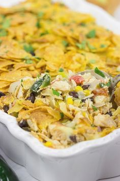 """""""Looking for an easy weeknight dinner? How about a tasty Southwestern Chicken Taco Bake? This one features baked corn tortillas on top to add a fun crunch, too! Corn Tortilla Casserole, Casserole Recipes, Entree Recipes, Mexican Food Recipes, Ethnic Recipes, Meal Recipes, Chicken Recipes, Recipies, Easy One Pot Meals"""