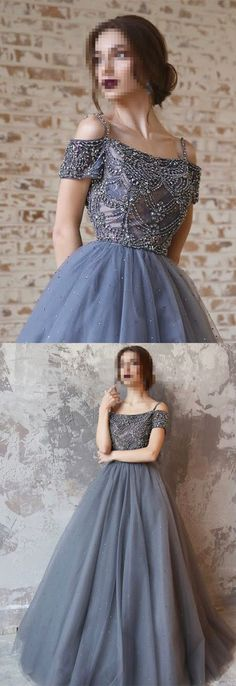 2018 Prom Dress, Long Prom Dress, Grey Prom Dress, Formal Evening Dress, Graduation Dress