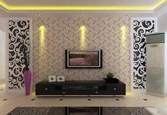 Wallpaper Dinding Ruang Tamu Ornament Hitam Putih
