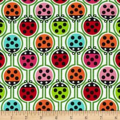 Kanvas Luv Bugs Lucky Ladybugs Multi from @fabricdotcom  Designed by Greta Lynn for Kanvas in association with Benartex Fabrics, this cotton print is perfect for quilting, apparel and home decor accents. Colors include red, black, white, orange, pink, green and aqua.