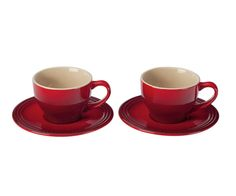 Crafted from premium stoneware, this pair of Cappuccino Cups and Saucers is durable enough for serving coffee every day, yet elegant enough for entertaining guests.  [tabgroup title=