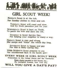 Vintage Girl Scout Week poster. Every week should be Girl Scout week!