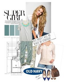 """""""Super Girl with OLD NAVY"""" by leosphotodiary ❤ liked on Polyvore featuring Old Navy, Post-It, Zara, Amrita Singh, Forever 21, Illesteva, backpacks, boyfriend jeans, boyfriend shirts and wayfarer sunglasses"""