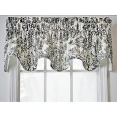 Dress up your windows with these cotton scallop valances. Each valance features a classic toile pattern for an elegant look. They are fully lined, made of 100 percent cotton, and feature a scalloped design. Choose from black, blue, green, or red.