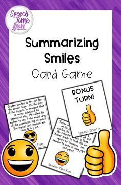 Summarizing Smiles Card Game - work on summarization with this engaging card game for speech and language therapy