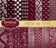 Maroon and Silver Digital Paper by Origins Digital Curio on @creativemarket #maroon #burgundy #red #silver #gray #digital #paper #backgrounds #scrapbooking #damask #textures #pack #patterns
