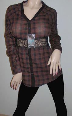 Rock 47 by Wrangler Western Black Brown Plaid Raglan Long Sleeve Shirt Med Sexy Cowgirl