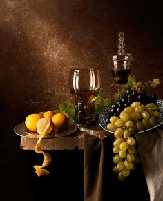 Still Life with Grapes and Lemons   Flickr - Photo Sharing!