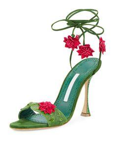 X3JTW Manolo Blahnik Xacaxtus Ankle-Wrap 100mm Sandal, Green/Fuchsia