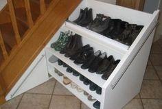 Built-in wardrobe under stairs - Spacious shoe cabinet Shoe Storage Under Stairs, Staircase Storage, Under Stairs Cupboard, Stair Storage, Hidden Storage, Shoe Cupboard, Pantry Cupboard, Shoe Cabinet, Fitted Wardrobes