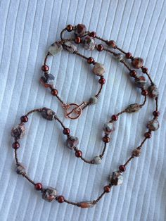 Stone and pearl necklaces with copper accents 36 long by DevonMade, $55.00