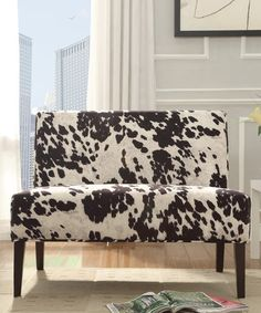 Another great find on #zulily! Alaina Cowhide Accent Love Seat #zulilyfinds