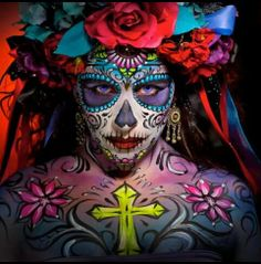 flourescent day of the dead make up