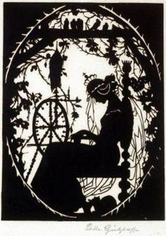 Dornröschen [lit.Little Rosethorn] - character of Sleeping Beauty fairytale paper cut-out by Lotte Gützlaff (1800-1900) via Art pictures