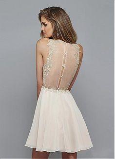 comprar Elegante tul y gasa escote joya de una línea de Fiesta Vestidos con apliques de encaje de descuento en Dressilyme.com