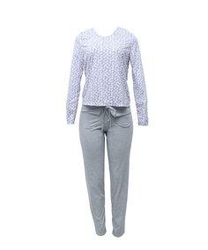 Pijama manga longa. Blusa e calça de algodão. Detalhe de bolsos na calça.