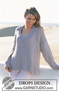 DROPS 90-14 - DROPS Pullover in Passion with V-neck.