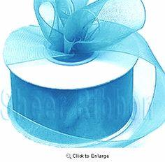 25 Yard Aqua Blue Organza Sheer Ribbon - Pack of 10 Candle Wedding Favors, Candle Favors, Wedding Favor Bags, Baby Shower Party Supplies, Baby Shower Favors, Baby Shower Parties, Halloween Costume Wedding, Gift Ribbon, Wholesale Bags