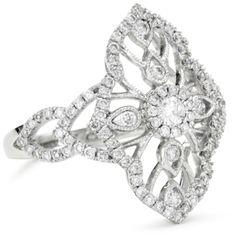 "Amazing! Katie Decker ""Baroque"" 18k White Gold and Diamond Ring"