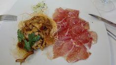 pasta kataifi croccante con funghi galletti freschi e culaccia nostrana 29-LUG-2016 @ Bottega Aleotti - Crevalcore