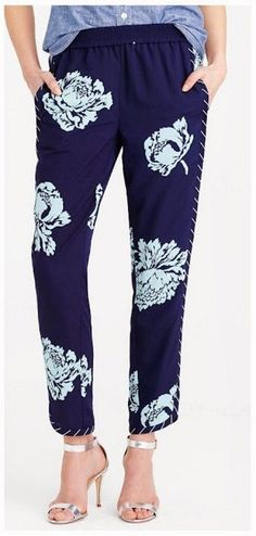 NEW J. Crew Reese Navy Floral Matte Crepe Jogger Pants Graphic Peony 0 #JCREW #CasualPants