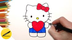 How to Draw Hello Kitty with Love Heart    Cute Hello Kitty . Heart. Valentine. In this video I will show you how to draw a cute Hello Kitty with love heart pencil step by step. Drawing and sample col...