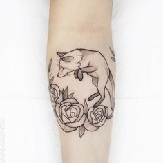 Little fox and rose design.